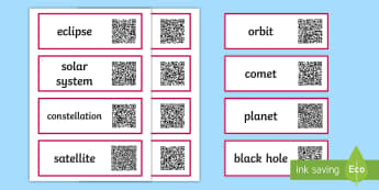Earth and Space Vocabulary Code Hunter - QR Codes, scan, interactive, personal learning, label, cards, display, vocabulary, science, definiti