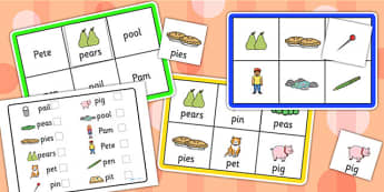 Initial p Sound Bingo and Lotto Game - sound, bingo, lotto, game
