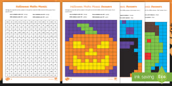UKS2 Halloween Maths Mosaic Differentiated Activity Sheets - times tables, calculations, multiplication and Division, year 3 times tables, year 4 times tables, x