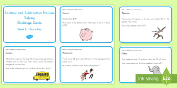 Weekly Addition and Subtraction (2) Challenge Cards - Common Core Math, addition, subtraction, word problems, problem solving, operations and algebraic th