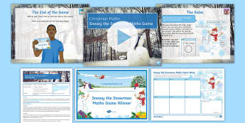 Snowy the Snowman Maths Game - Maths, Christmas, Frosty, Game, snowman, jolly, dice, end of term, activity, social, chance