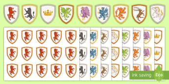 KS3 History Assessment Stickers - Levels, Shields, Heraldry, level 1, level 2, Level 3, Level 4, Level 5, Level 6, Level 7, Level 8, L