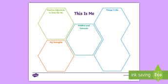 KS2 This is Me Worksheet / Activity Sheet - personality swirls, adjectives, interests, hobbies, all about me, worksheet