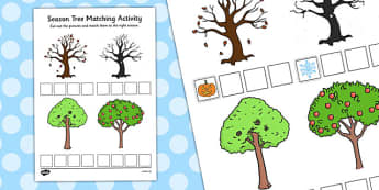 Season Tree Matching Activity - season, tree, matching, activity