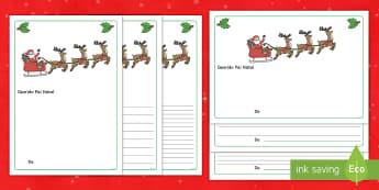 Carta ao Pai Natal modelo de escrita - natal, natais, celebraçao, festa, natividade, solsticio de inverno, inverno, pai natal, papai noel,