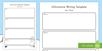 Winter Topic Informative Writing Template - Common Core, ELA, Informative Writing, Explanatory Writing, Graphic Organizer