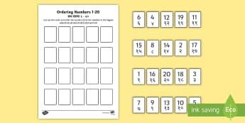 Ordering Numbers Game 0-20 Counting Worksheet / Activity Sheet English/Hindi - Ordering Numbers Game 1 to 20 - order, number, maths, activity, numbes, nubers, matsh, seriation, EA