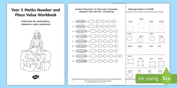 Year 5 Maths Number and Place Value Workbook English/Portuguese - Year 5 Maths Number and Place Value Workbook - maths, workbook, placevalue, plce value, place vlaue,