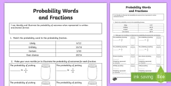 Probability Words and Fractions Activity Sheet - ACMSP116,Chance, Chance Outcomes, Likelihood, Possible Outcomes, Year 5 Maths, worksheet, Statistics