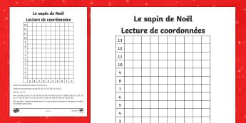 Feuille d'activités : Lecture de coordonnées - Noël - Noël, Christmas, maths, mathématiques, grille, coordonnée, grid, reference, sapin, tree,French