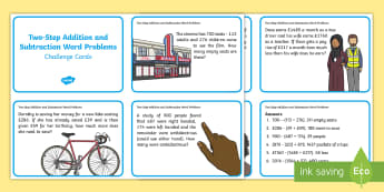 Two Step Subtraction Word Problems - - subtraction, word problems, challenge cards, addition,