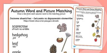 Autumn Word and Picture Matching Worksheet Polish Translation - polish