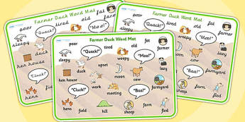 Farmer Duck Word Mat - Farmer duck, farmer duck word mat, farmer duck keywords, word mat, keywords, story book keywords, story book word mat