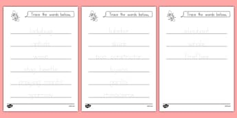 The Grouchy Ladybug Trace the Words Worksheets - usa, america, the grouchy ladybug, trace the words