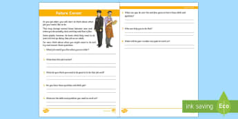 Future Career Worksheet / Activity Sheet - jobs, skills, qualities, relationships, ambition, confidence, discussion, Personal development, work