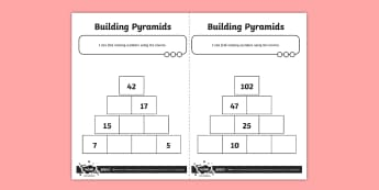 Blank Maths Pyramid Activity Sheet - Addition and Subtraction, Opposite, inverse, reverses, calculation, operation, take, take-away, less