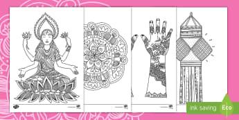 Taflenni Lliwio Ymwybyddiaeth Ofalgar Diwali - Diwali, diwali, divali, rama and sita, Rama and Sita, RE, Addysg Grefyddol, Yearly Events, Dathliada
