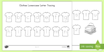 Clothes Lower Case Letter Tracing Worksheet / Activity Sheet - Alphabet Tracing, Letter Formation, ELA, Center Activity, Handwriting, worksheet