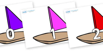 Numbers 0-31 on Toy Boats - 0-31, foundation stage numeracy, Number recognition, Number flashcards, counting, number frieze, Display numbers, number posters
