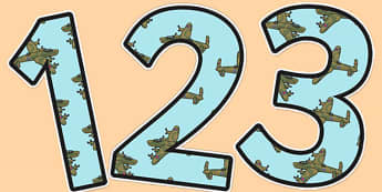 World War Two Aeroplane Themed Display Numbers - ww2, aeroplane