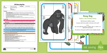 EYFS Build a Zoo Animal Game Numeral Version Busy Bag Plan and Resource Pack - animal park, safari Park, Petting, animals, maths, numeracy