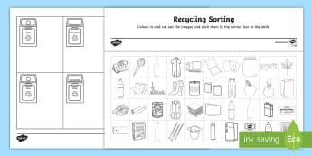Recycling Sorting Worksheet / Activity Sheet - recycle,sustainable,sustainability,recycling,sorting,waste,garbage,worksheet