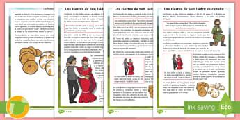 Hoja informativa: Las fiestas de San Isidro en España - San Isidro, Fiestas Patronales, fiestas locales, comprensión lectora, P4, P5, P6, Cuarto, quinto, s