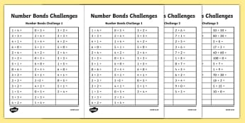 Number Bond Challenge Worksheet / Activity Sheet, worksheet