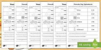 Pancake Day Menu Challenge Differentiated Activity Sheets English/German - Pancakes, Carnival, Mardi Gras, EAL, German