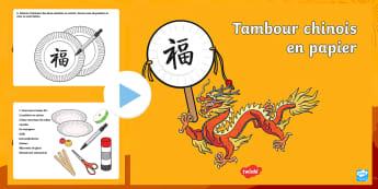 PowerPoint pour travaux manuels : Tambour chinois en papier - événement, Chine, nouvelle année, arts plastiques, cycle 1, cycle 2