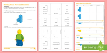 Building Blocks Plans and Elevations Matching Cards - 3d, 2d, lego, ninjago, plans, elevations, side, front