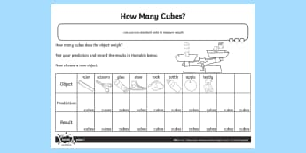 How Many Cubes Weight Worksheet / Activity Sheet - Measurement, weight, weigh, non standard measures, measure, measuring,