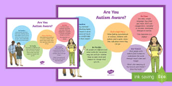 Are You Autism Aware? A4 Display Poster - KS1&KS2 World Autism Awareness Day (2nd April 2017), Autism Spectrum Disorders, staff training, comm