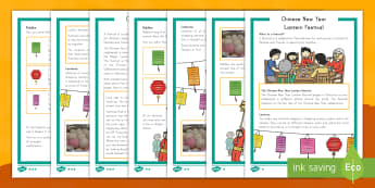 Chinese New Year Lantern Festival Differentiated Reading Comprehension Activity - Chinese New Year, Lantern Festival, differentiated reading comprehension, non-fiction, celebrations,