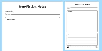 Non-Fiction Reading Notes Writing Template - English, Moving,Australia, book, read, reading, format, template, writing, frame, record
