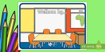 'Welkom By' Teken  - klaskamer, klas, areas, lamineer, ingang, vertoon