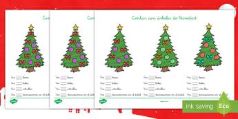 Fichas para contar: El árbol de Navidad - navidad, navideño, decoración, adornos, contar, números, - navidad, navideño, decoración, adornos, contar, números