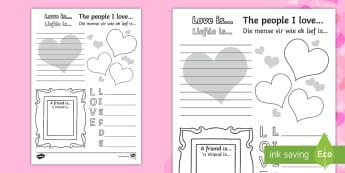 Valentine's Day Activity Sheet English/Afrikaans - Love, special, chocolates, flowers, hug, heart, liefde, EAL