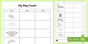 Bug Count Outdoor Worksheet / Activity Sheet - CfE Outdoor Learning, nature, forest, woodland, playground, mini beasts, worksheet, bugs, tally char