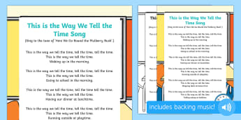 This is the Way We Tell the Time Song - singing time, action rhymes, singing, song, early maths, mental oral starter, clock, watch