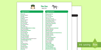 The Zoo Book List - EYFS, Early Years, The Zoo, animals, fiction, non-fiction, literacy, English, reading., book corner,