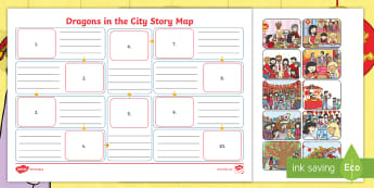 Dragons in the City Story Map - twinkl originals, fiction, chinese new year, key events, ordering, sequencing, planning a story, ret