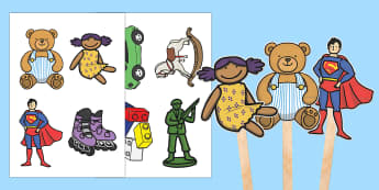 Toys Stick Puppets - EYFS, Early Years, KS1, Toys, toy shop, teddy bear, doll, action figure, stick puppets, small world,