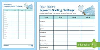 Polar Regions Keywords Spelling Challenge - Polar, Keywords, spellings, arctic, Antarctic