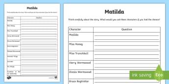Hot Seating Question Planning for Matilda Activity Sheet - CfE Drama,Scottish, worksheet, hotseat, roald dahl, novel, comprehension