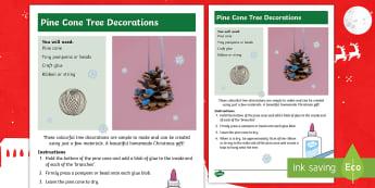 Pine Cone Tree Decorations  Craft Instructions - Christmas crafts, Christmas fair, nature, art, decorative