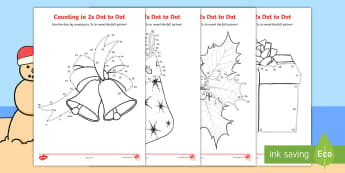 Christmas Counting in 2s Dot to Dot Colouring Pages-Australia - Christmas Australia, dot to dot, colouring pages, colouring, even numbers, multiple, maths, 2s, math,