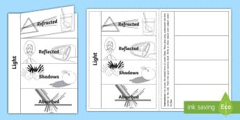 Light Flaps Writing Activity Sheet - ACSSU080, refract, reflect, mirror, lightwaves, refraction, foldable,