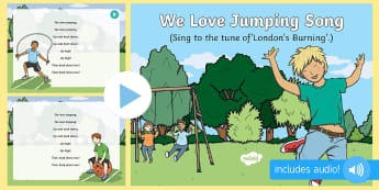 We Love Jumping Song PowerPoint - jumping, skipping, hopping, up, down, early concepts, opposites
