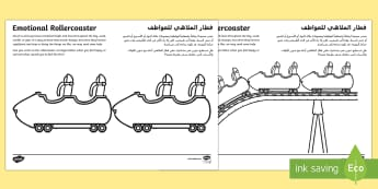 Emotional Rollercoaster Activity Sheet Arabic/English  - young people, worry, feeling low, feeling happy, stress, PSHCE, families EAL Arabic